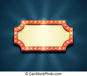 Light Bulbs Frame - Beautiful rectangle retro empty marquee ...