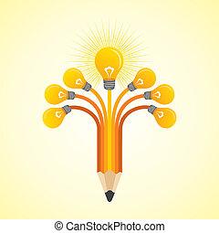 Light-bulbs hands make pencil