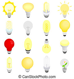 Light bulbs icons, isometric 3d style