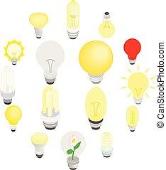 Light bulbs icons, isometric 3d style
