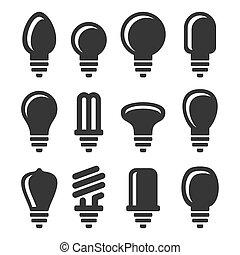 Light Bulbs Icons Set on White Background. Vector