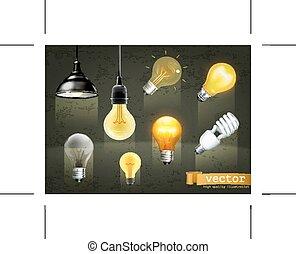 Light bulbs icons - Set with light bulbs, icons