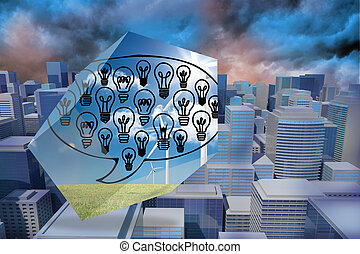 Light bulbs in speech bubble on abstract screen against digitally generated cityscape