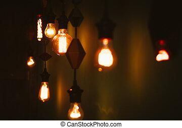 light bulbs in the studio near the wall