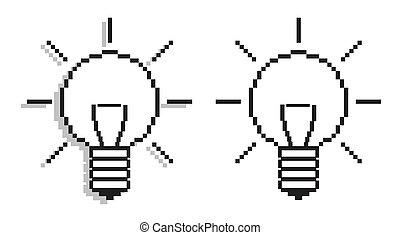 light-bulbs, informatique, -, icône
