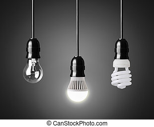 Light bulb, energy saver bulb and LED bulb on black