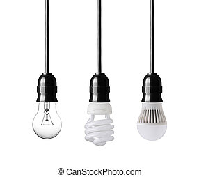 Light bulb, energy saver bulb and LED bulb on white
