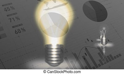 Light bulbs lighting up