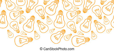 Light bulbs line art horizontal seamless pattern background border
