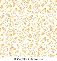 Light bulbs line art seamless pattern background