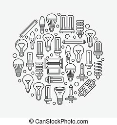 Light bulbs linear illustration - Light bulbs sign with ...