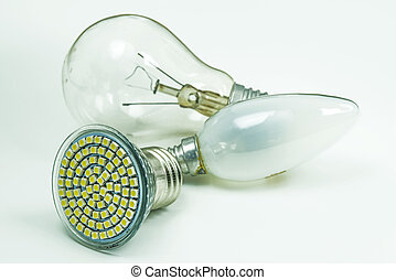 Light bulbs, old and modern LED