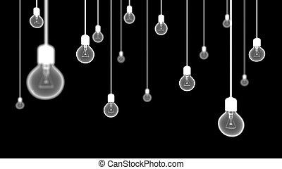 Light bulbs on black background