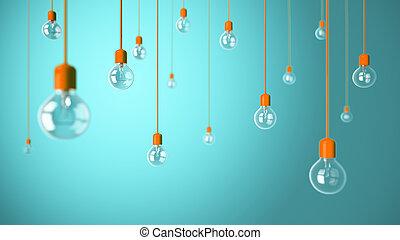 Light bulbs on blue background