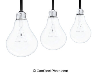 Light bulbs on white background
