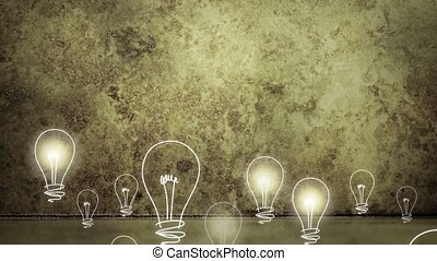 Light bulbs rising on grungy backgr - Abstract animation of...