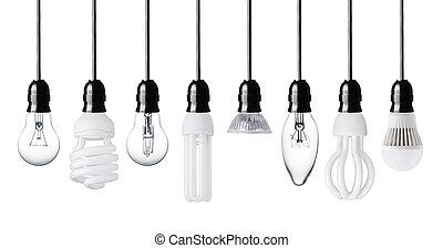 light bulbs - Set of different light bulbs isolated on white