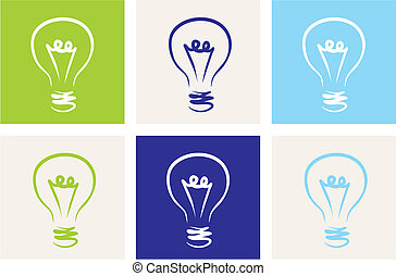 Light bulbs vector eco icon set