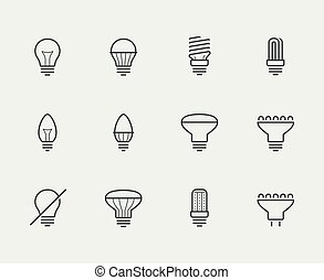 Light bulbs vector icon set in thin line style