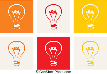 Light bulbs vector icons