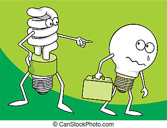 Light bulbs vector - Incandescent light bulb persecuted by a...