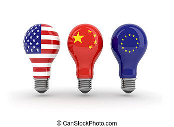 light bulbs with American, chinese and euro flag