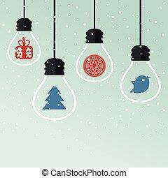 Christmas toys - light bulbs with Christmas toys