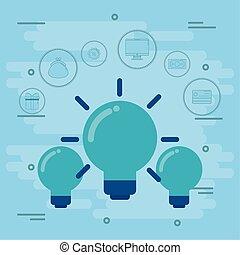 light bulbs with social media icons