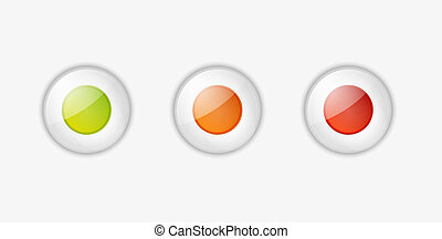 light buttons with green, orange and red color