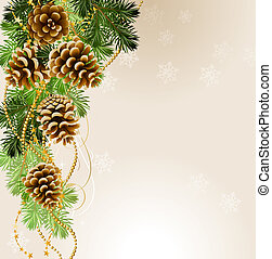 light Christmas background with vitality cones and fir tree