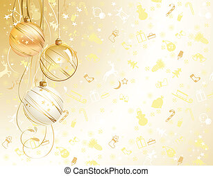 light Christmas backdrop with three balls