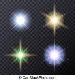 Light Color Glow Flare Stars Effect Set.