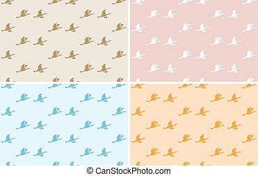 light color patterns with birds - seamless vector set