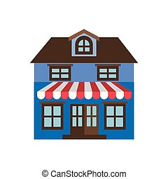 light color silhouette of facade store building with two floors and awning
