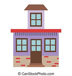 light color silhouette of house with small attic vector...