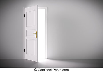 Light coming from half open classic white door. Concepts of...