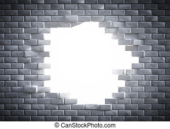 Light coming through a hole in a brick wall. Concept of new...