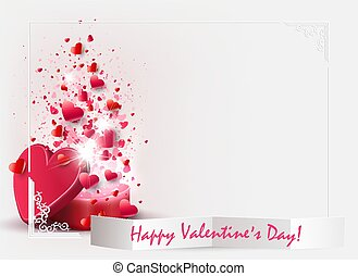 Light composition with a red box with a lot of hearts and the silhouette of crumpled paper with text,