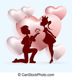 Light composition with the silhouette of a boy on his knees with a ring and a girl in a crown,