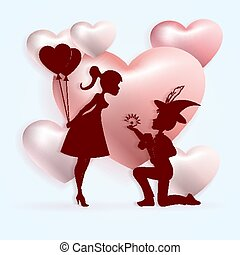 Light composition with the silhouette of a boy on his knees with a ring and girls with balloons,