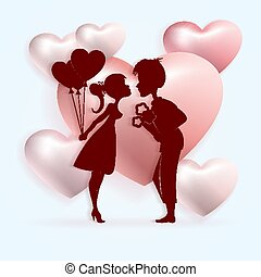 Light composition with the silhouette of a boy with a bouquet of flowers and a girl with balloons,
