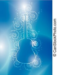 light contour of guitar with music notes on blue vector background