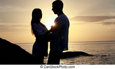 light., couple, plage., silhouette, coucher soleil