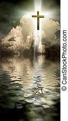 Light - Cross Hangs in Sky over Water