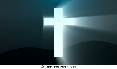 Light cross of Christ, ray beams background. 3d rendering