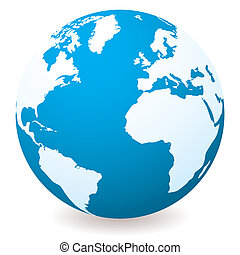 light dark blue globe - Blue illustrated globe with shadow...