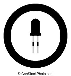 Light diode black icon in circle vector illustration...