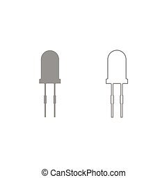 Light diode icon. Grey set . - Light diode icon. It is grey...