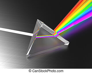 light dividing prism - abstract 3d illustration of light...