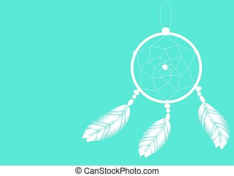 light dreamcatcher on a blue background illustration